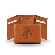 NCAA Embossed Leather Trifold Wallet - Wisconsin