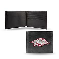 NCAA Embroidered Leather Billfold Wallet - Arkansas