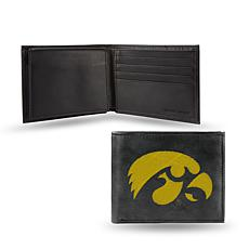 NCAA Embroidered Leather Billfold Wallet - Iowa