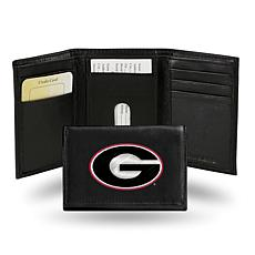 NCAA Embroidered Leather Trifold Wallet - Georgia