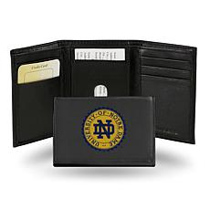 NCAA Embroidered Leather Trifold Wallet - Notre Dame