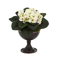 """Nearly Natural 11"""" African Violet Artificial Plant in Metal Chalice"""