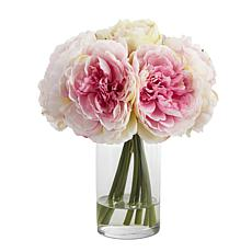 """Nearly Natural 11"""" Peony Bouquet Artificial Arrangement in Glass Vase"""
