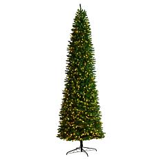 Nearly Natural 11' Slim Pine Christmas Tree with 950 Clear LED Lights