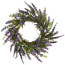 "Nearly Natural 18"" Lavender Wreath"