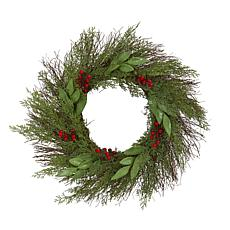 "Nearly Natural 20"" Cedar & Ruscus with Berries Artificial Wreath"