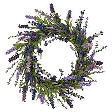 "Nearly Natural 20"" Lavender Wreath"