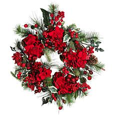 "Nearly Natural 22"" Hydrangea Holiday Wreath"