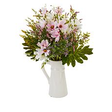 "Nearly Natural 22"" Lavender Floral Arrangement in a Ceramic Pitcher"