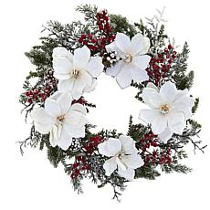 "Nearly Natural 22"" Snowed Magnolia and Berry Wreath"