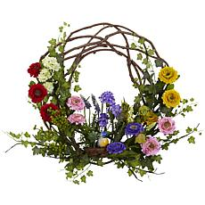"""Nearly Natural 22"""" Spring Floral Wreath"""