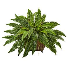"Nearly Natural 23"" Boston Fern in Metal Planter"