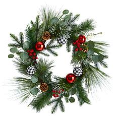 """Nearly Natural 24"""" Berry and Pinecone  Christmas Wreath with Ornaments"""