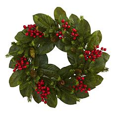 "Nearly Natural 24"" Magnolia Leaf, Berry & Pine Artificial Wreath"