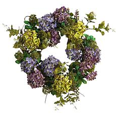 "Nearly Natural 24"" Mixed Hydrangea Wreath"