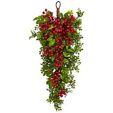 "Nearly Natural 26"" Berry Boxwood Teardrop Arrangement"