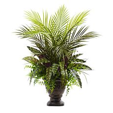 "Nearly Natural 27"" Mixed Areca Palm, Fern and Peacock with Planter"