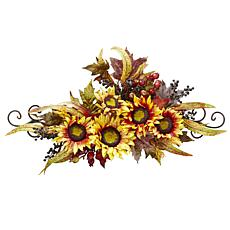 "Nearly Natural 27"" Sunflower Swag with Metal Frame"