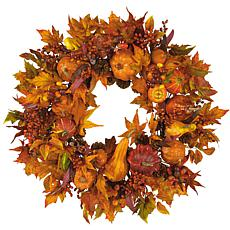 "Nearly Natural 28"" Pumpkin Wreath"