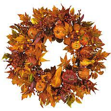 "Nearly Natural 28"" Pumpkin Wreath"
