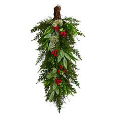 """Nearly Natural 30"""" Cedar and Berry Artificial Christmas Swag"""