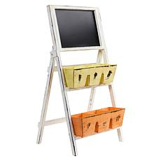 "Nearly Natural 31"" Farmhouse Multipurpose Bin and Chalkboard Stand"