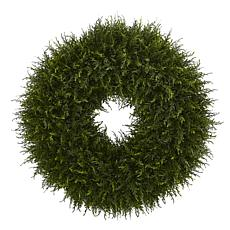 "Nearly Natural 32"" Giant Cedar Artificial Wreath"