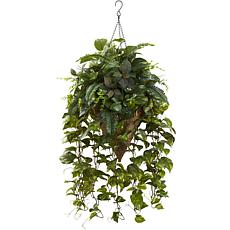 "Nearly Natural 36"" Vining Mixed Greens with Cone Hanging Basket"