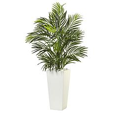 "Nearly Natural 39"" Areca Palm in White Planter Indoor/Outdoor"