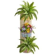 "Nearly Natural 39"" Artificial Mixed Floral and Fern Wall Decor Planter"