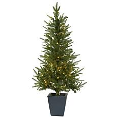Nearly Natural 4.5-Ft. Christmas Tree with Planter & Clear Lights