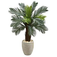 Nearly Natural 4.5 ft. Cycas Artificial Tree in Oval Planter