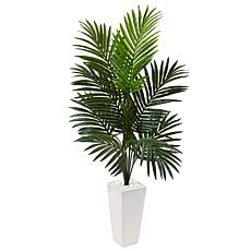 Nearly Natural 4.5 ft. Kentia Palm Tree in White Tower Planter