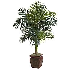 """Nearly Natural 4.5"""" Golden Cane Palm with Decorative Container"""