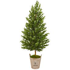 Nearly Natural 5' Faux Olive Cone Topiary in Farmhouse Planter