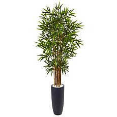 Nearly Natural 5 ft. Bamboo Tree in Gray Cylinder Planter