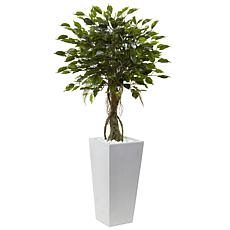 "Nearly Natural 52"" UV Resistant Ficus Tree with White Planter"