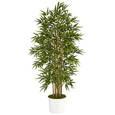 """Nearly Natural 64"""" Bamboo Artificial Tree in White Tin Planter"""