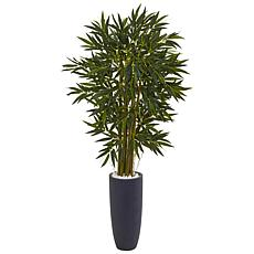Nearly Natural 6.5 ft. Bamboo Tree in Gray Cylinder Planter