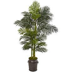 Nearly Natural 7 ft. Artificial Golden Cane Palm Tree in Metal Planter