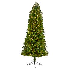 Nearly Natural 7' Slim Virginia Spruce  Christmas Tree with 500 Lights