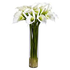 Nearly Natural Calla Lilly w/ Cylinder Silk Flower Arrangement - Cream