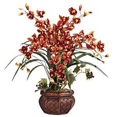 Nearly Natural Cymbidium with Decorative Vase Silk Arrangement