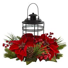 Nearly Natural Poinsettia Berry Pine Artificial Candelabrum