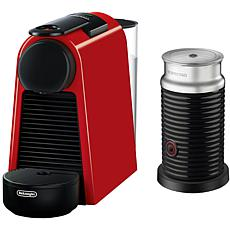 Nespresso Essenza Ruby Red Mini Espresso Machine with Milk Frother