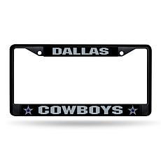 NFL Black Laser-Cut Chrome License Plate Frame -  Cowboys