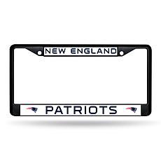 NFL Black Laser-Cut Chrome License Plate Frame -  Patriots
