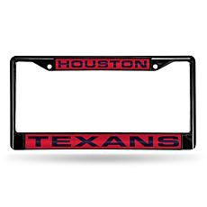 NFL Black Laser-Cut Chrome License Plate Frame - Texans