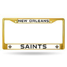 NFL Gold Chrome License Plate Frame - Saints