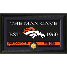 """NFL """"Man Cave"""" Bronze Coin Panoramic Photo Mint-Broncos"""
